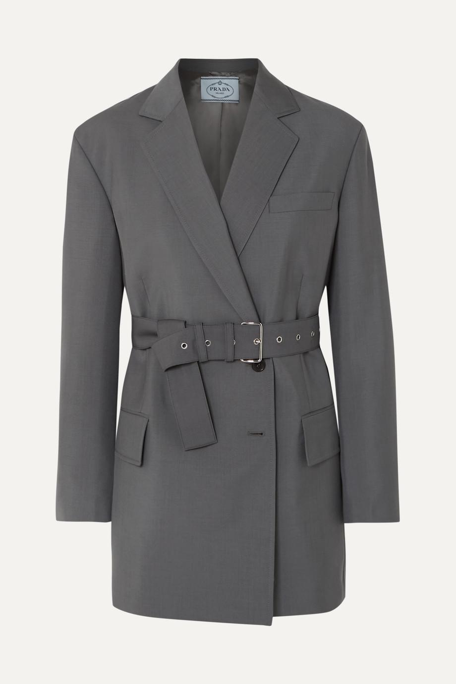 Prada Belted mohair and wool-blend blazer