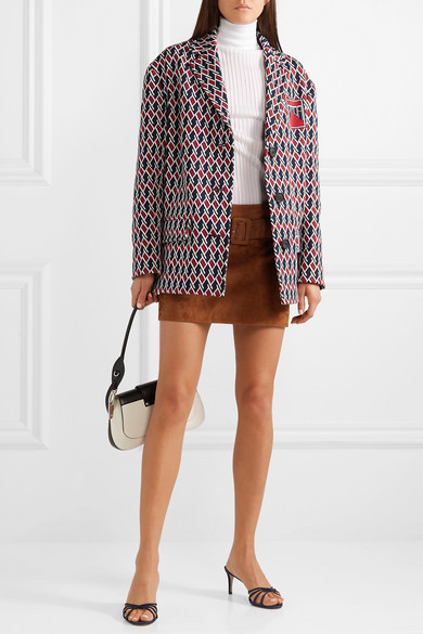 Argyle Intarsia Knit Jacket by Prada