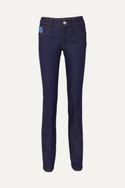 Appliquéd high-rise slim-leg jeans