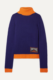 Prada Intarsia cashmere-blend turtleneck sweater