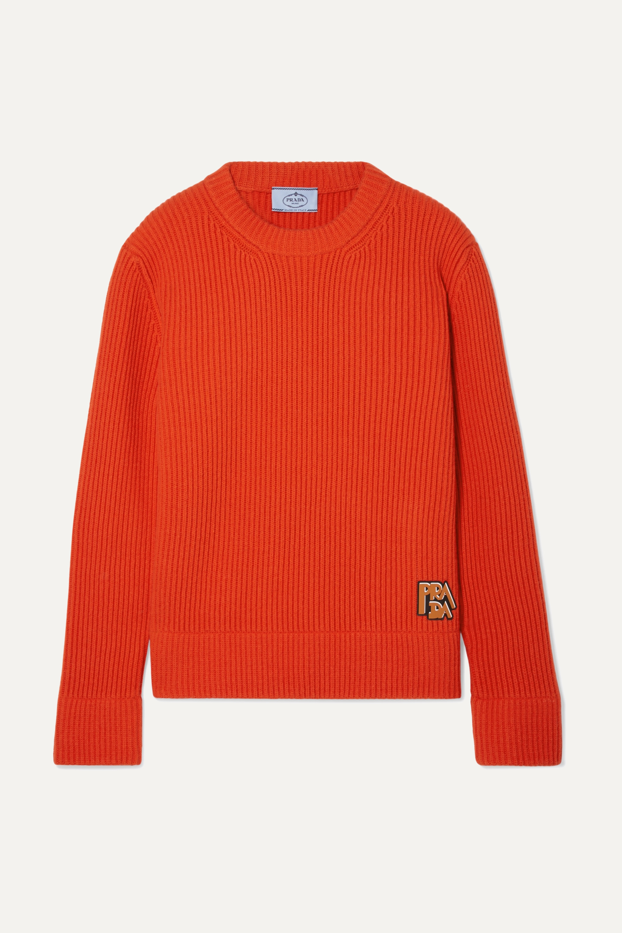 Prada Appliquéd ribbed wool and cashmere-blend sweater