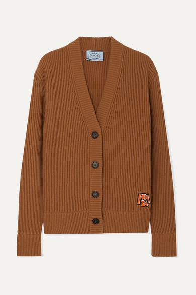 Prada Knits Appliquéd ribbed wool and cashmere-blend cardigan