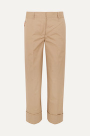 Prada Cropped cotton straight-leg pants