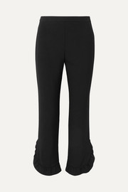 Prada Cropped ruffled crepe straight-leg pants