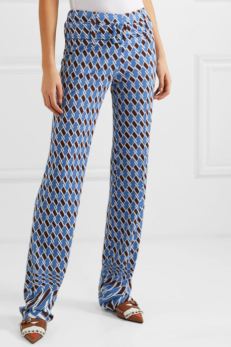 Belted printed jersey straight-leg pants