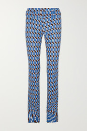 Prada Belted printed jersey straight-leg pants