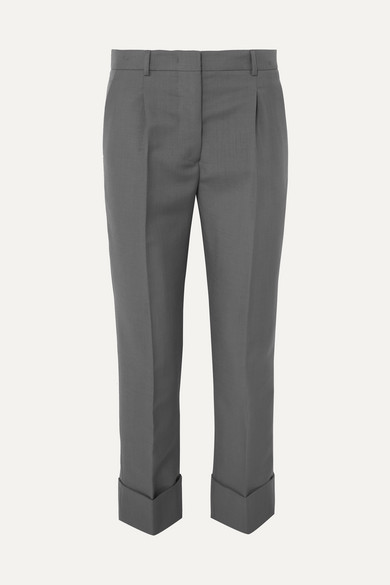 Prada Pants Cropped mohair and wool-blend straight-leg pants