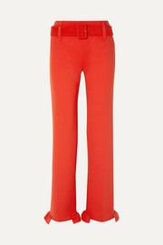 Prada Belted ruffled tech-jersey straight-leg pants