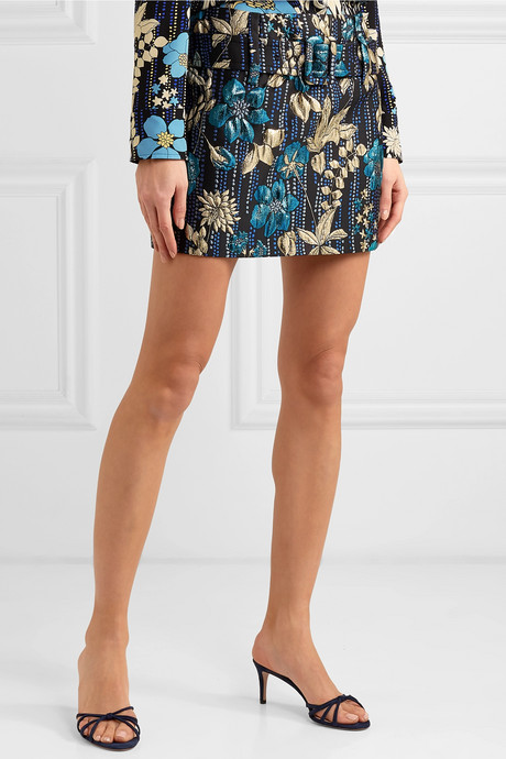 Belted metallic brocade mini skirt