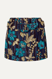 Belted metallic brocade mini skirt