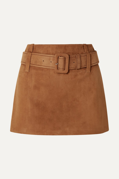 Belted Suede Mini Skirt in Brown
