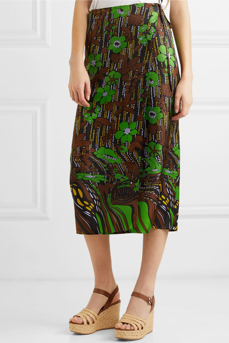 Floral-print silk-satin twill wrap skirt