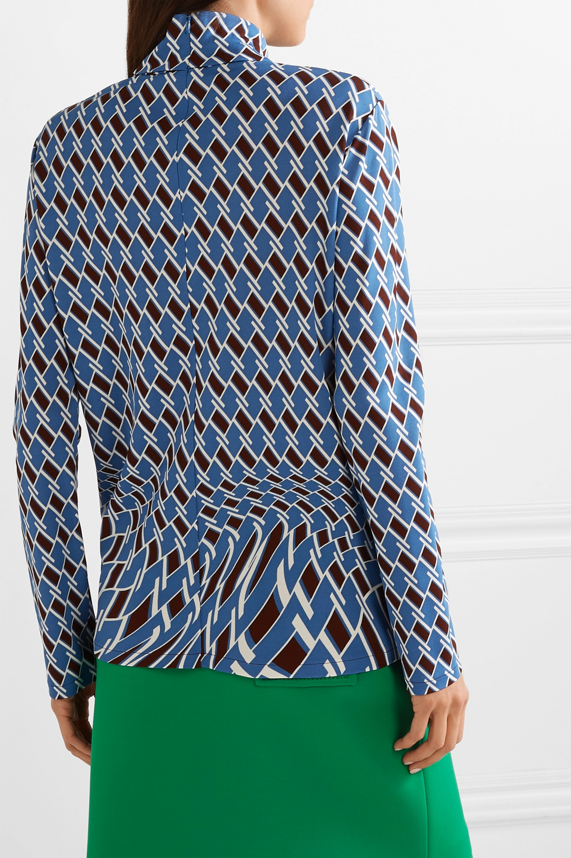 Prada Printed jersey turtleneck top