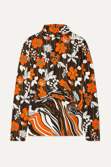 PRADA | Prada - Printed Jersey Turtleneck Top - Orange | Goxip