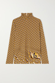 Prada Printed stretch-jersey turtleneck top
