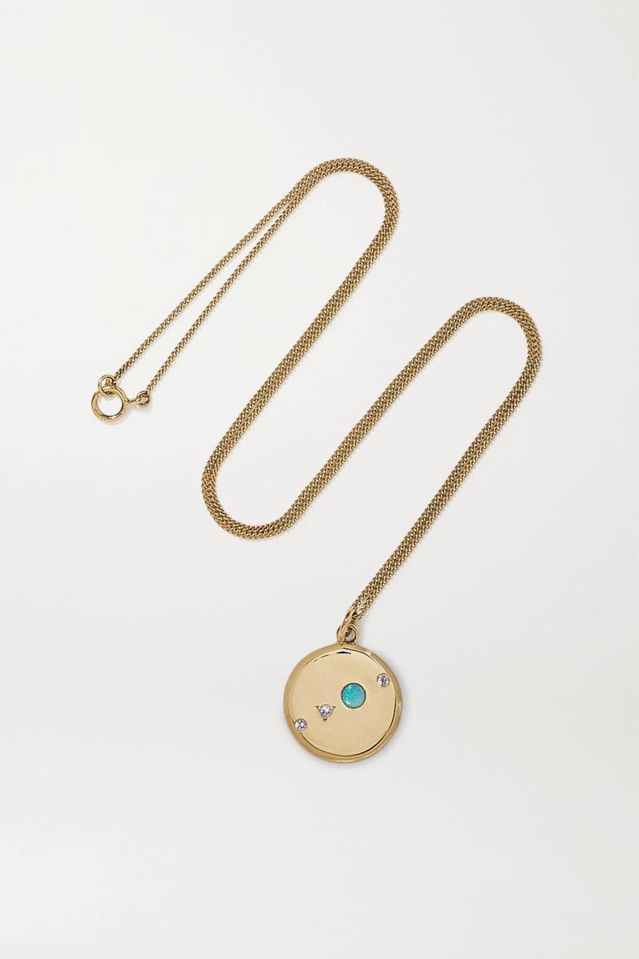 Wwake Kette aus 14 Karat Gold mit Opal und Diamanten