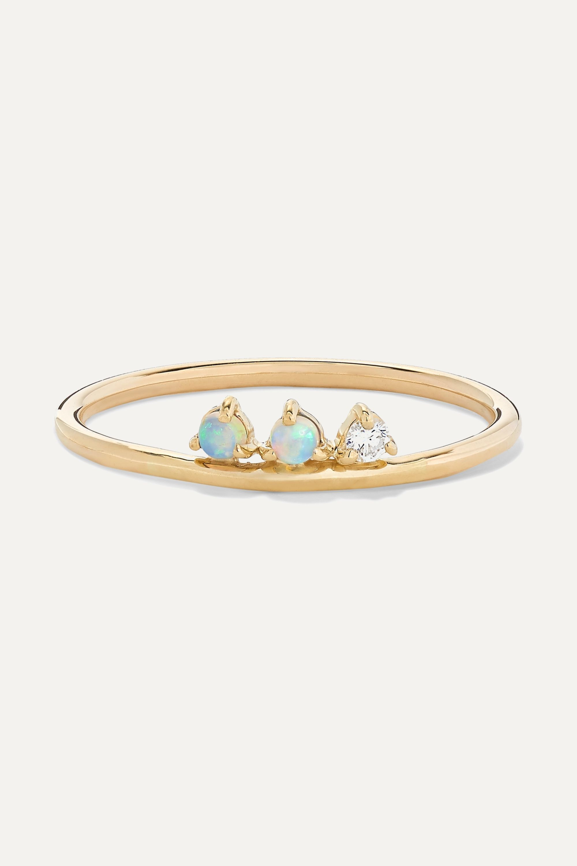 Wwake Three Points gold, opal and diamond ring