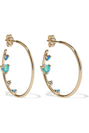 14-karat gold, opal and diamond hoop earrings