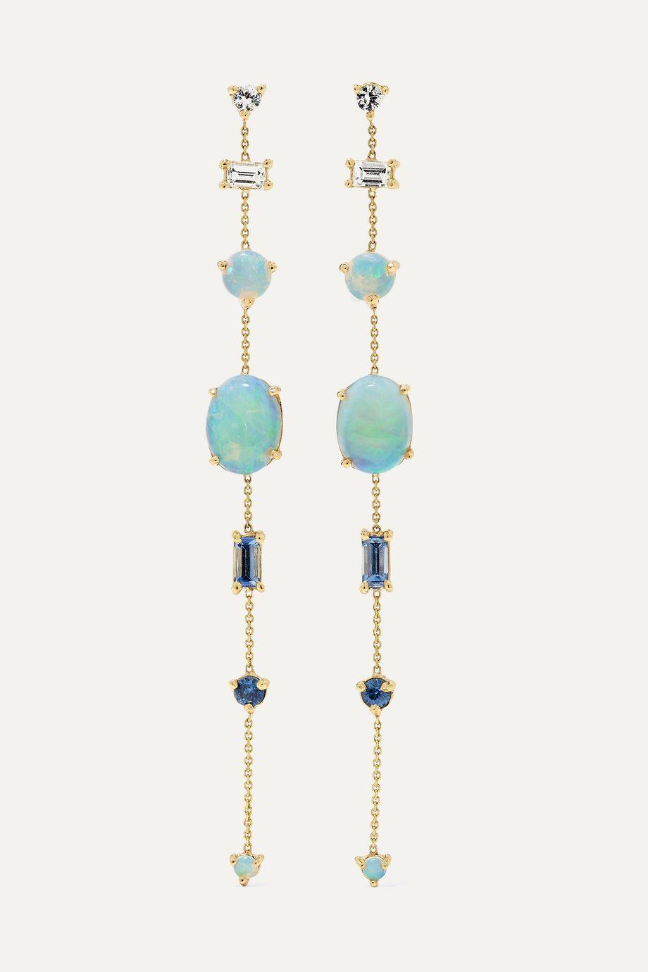Wwake Multi Chain 14-karat gold multi-stone earrings