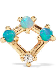 Wwake Mini Four Point gold, opal and diamond earring