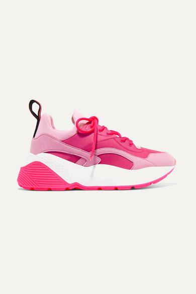 Stella Mccartney Eclypse Faux Leather, Faux Suede And Neoprene Sneakers In Pink