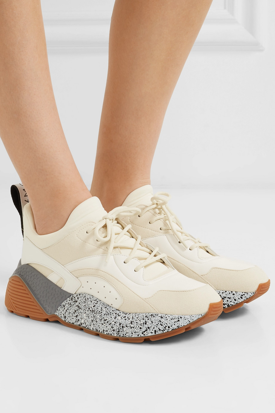 Stella McCartney Eclypse neoprene-trimmed faux leather and suede sneakers