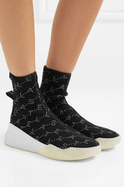 Loop intarsia stretch-knit sneakers