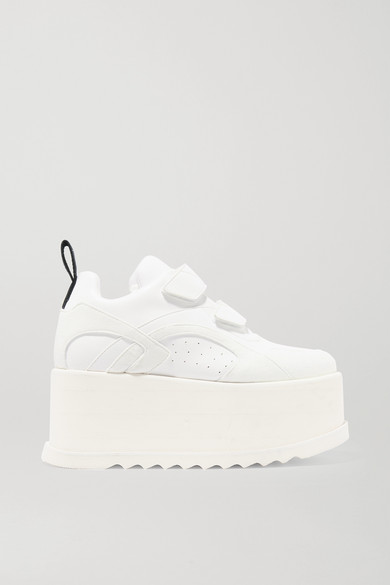 Eclypse Faux Leather-Trimmed Faux Suede Platform Sneakers in White