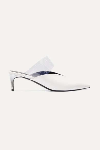 Logo-Perforated Pu And Faux Leather Mules in White