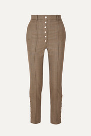 Hillier Bartley Button-embellished checked wool skinny pants