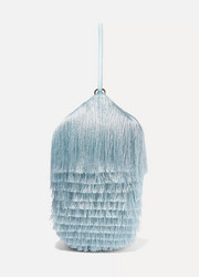 Lantern fringed leather clutch