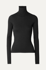 Alloy ribbed stretch-knit turtleneck sweater