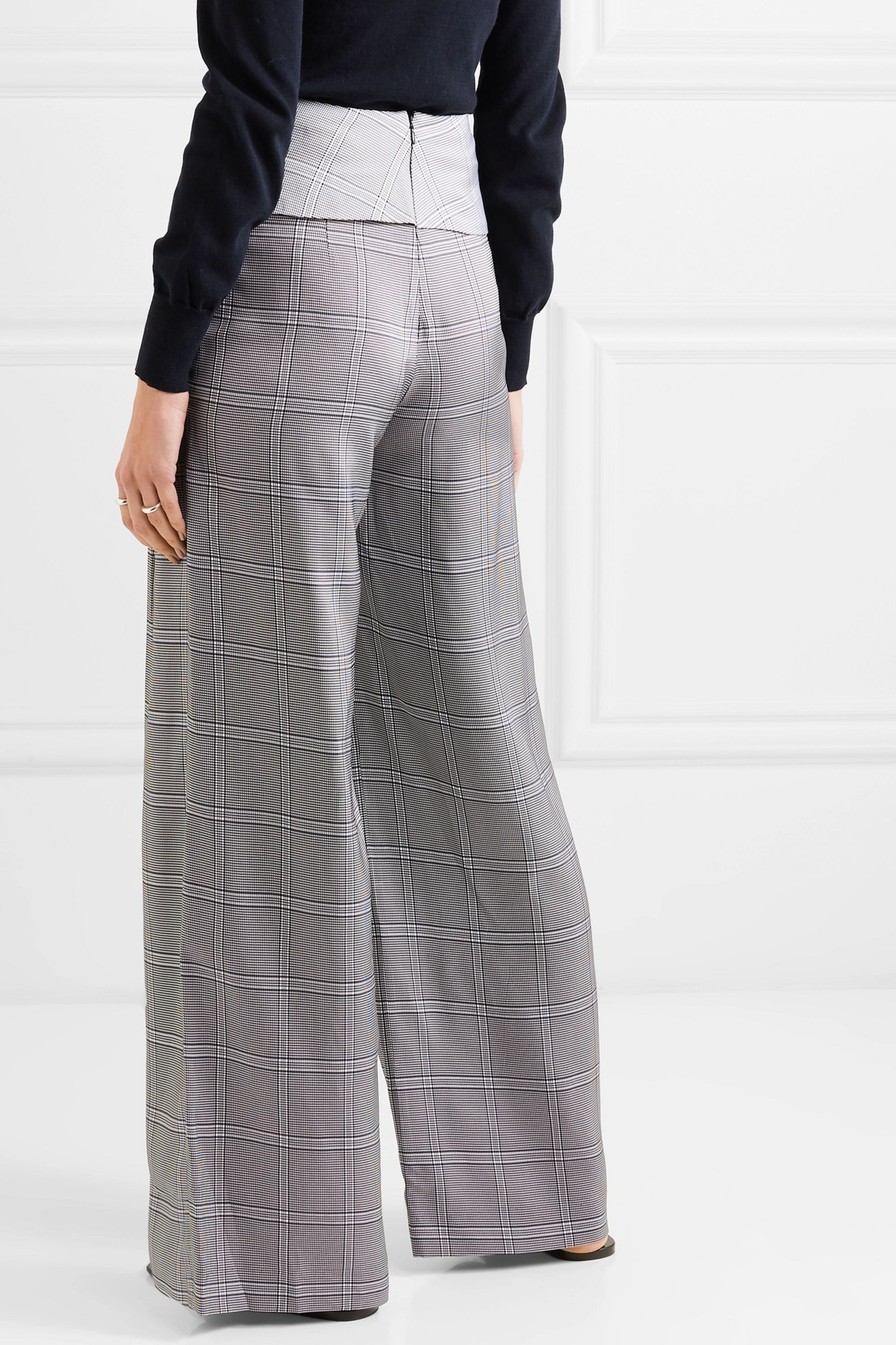 Dion Lee Checked wide-leg crepe pants