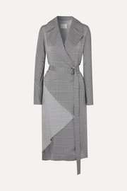 Belted checked crepe trench coat