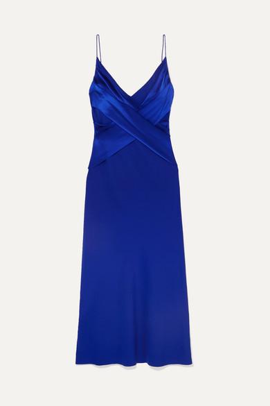 Draped Silk Satin Midi Dress by Dion Lee