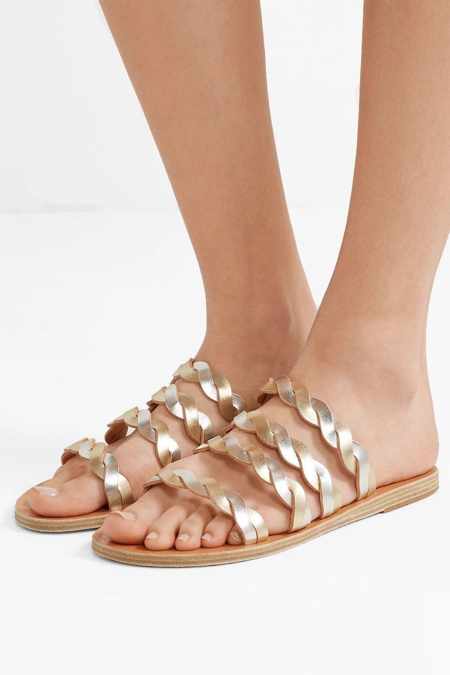 Ancient Greek Sandals Kynthia braided metallic leather sandals