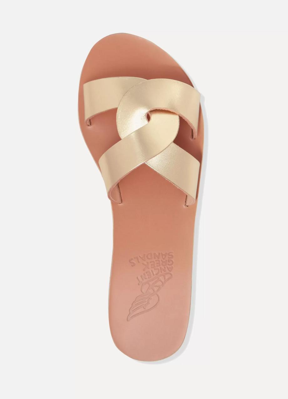 d4623af559722 Ancient Greek Sandals Desmos cutout metallic leather sandals