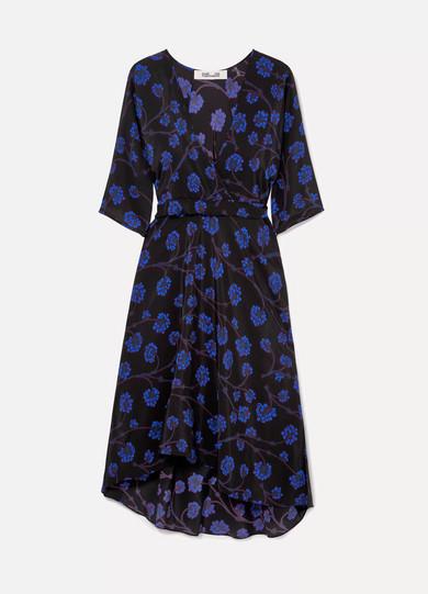 Eloise Asymmetric Printed Silk Crepe De Chine Wrap Dress in Black