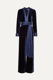 Satin-trimmed velvet jumpsuit