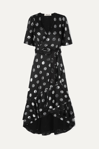 Sareth Fil Coupé Silk-Blend Crepe De Chine Wrap-Effect Dress in Black