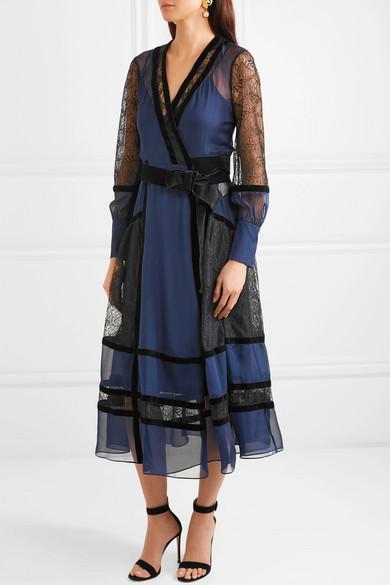1c1617b057943 Diane von Furstenberg. Forrest velvet-trimmed silk-chiffon and lace wrap  dress