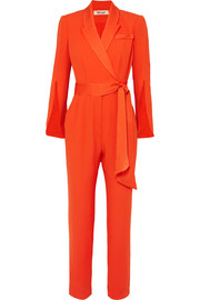 Mick belted crepe wrap-effect jumpsuit