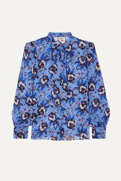 Diane Von Furstenberg Lanie Pussy-bow Floral-print Flocked Silk-blend Chiffon Blouse In Blue