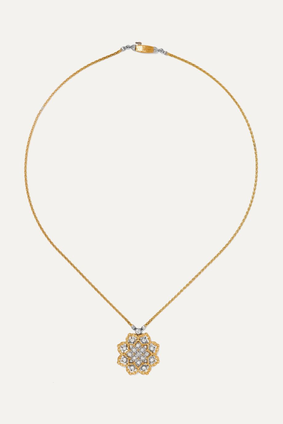 Buccellati Rombi 18-karat yellow and white gold diamond necklace
