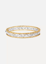 Buccellati Ramage 18-karat white and yellow gold diamond bangle