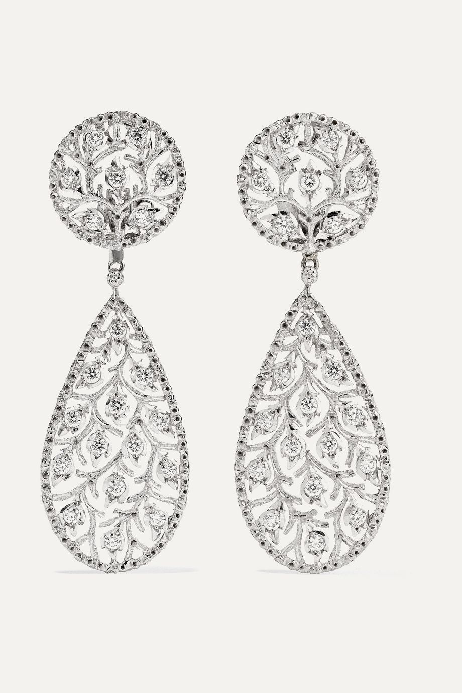 Buccellati Ramage 18-karat white gold diamond earrings