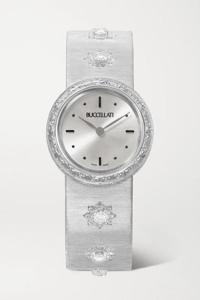 BUCCELLATI Macri 24Mm 18-Karat White Gold And Diamond Watch