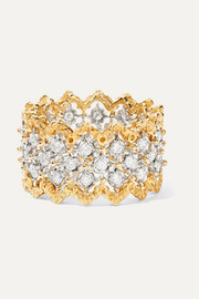 Buccellati Rombi 18-karat yellow and white gold diamond ring