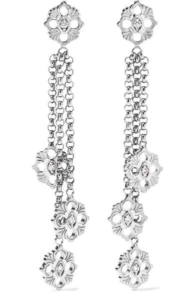 Opera 18-Karat White Gold Diamond Earrings