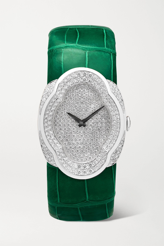 Buccellati Opera 28mm 18-karat white gold, alligator and diamond watch